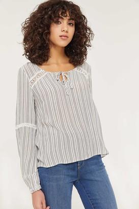 Ardene Striped Crochet Peasant Top