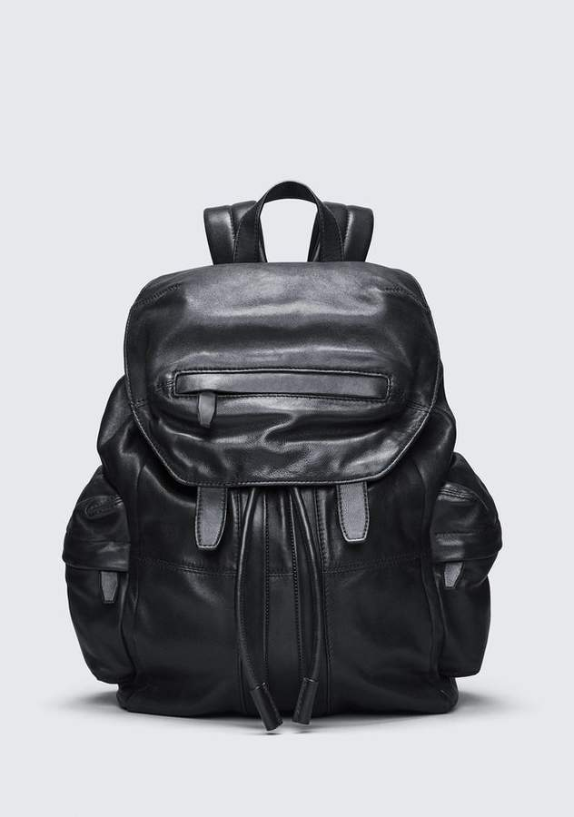 Alexander Wang MARTI BACKPACK IN WASHED BLACK WITH MATTE BLACK