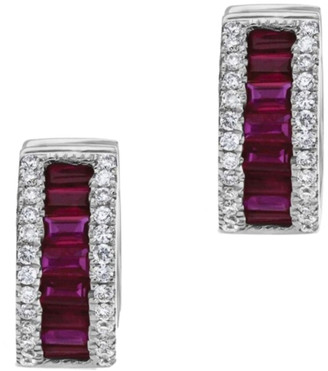 Diana M Fine Jewelry 18K 1.81 Ct. Tw. Diamond & Ruby Earrings