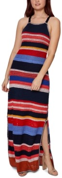 Betsey Johnson Stripe Halter Maxi Dress