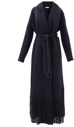 Gabriela Hearst Dream Fringed Shawl-lapel Cashmere Coat - Navy