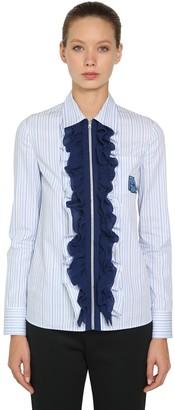 Prada Ruffled Zip-up Striped Cotton Shirt