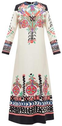 La DoubleJ Swing Printed Twill Dress - White Multi