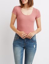 Charlotte Russe Ribbed Scoop Neck Bodysuit
