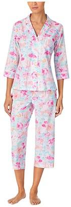 Lauren Ralph Lauren Petite Classic Wovens 3/4 Sleeve Notch Collar Capri Pants Pajama Set (Multi Floral) Women's Pajama Sets