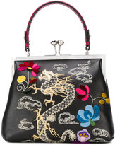 Ermanno Scervino dragon embroidery tote - women - Cotton/Leather/glass - One Size