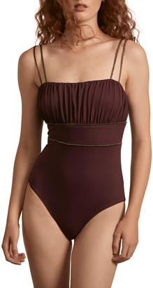 Amaio Swim Manon Metallic-Piped Tie-Shoulder One-Piece Swimsuit