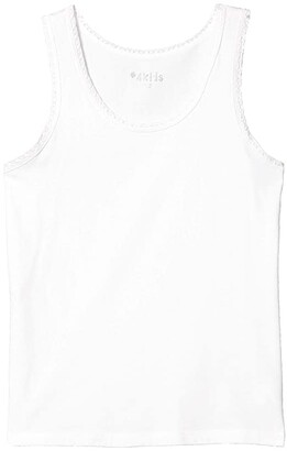 #4kids Essential Tank Top with Lace Trim (Little Kids/Big Kids) (White) Girl's Clothing