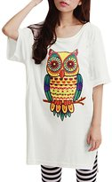 Allegra K Women Short Sleeve Owl T Shirt Side Split Loose Fit Tee L