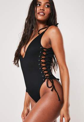 Missguided Black Rib Lace Up High Leg Plunge Swimsuit