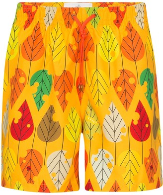 Timo Trunks Leaf Print Swim Shorts