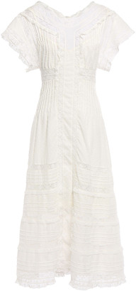 Zimmermann Iris Paneled Leavers Lace And Swiss-dot Cotton Midi Dress