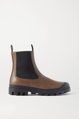 Loewe Rubber-trimmed Leather Chelsea Boots - Army green