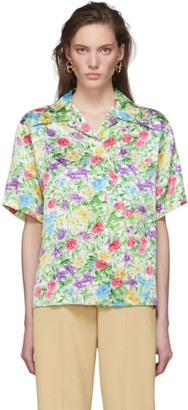 Les Rêveries Multicolor Silk Garden Camp Shirt
