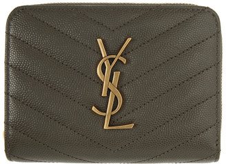 Saint Laurent Grey Small Compact Monogramme Wallet