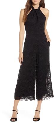 Julia Jordan Cropped Lace Jumpsuit