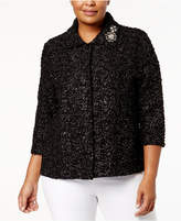 JM Collection Plus Size Embellished Brooch Jacket, Created for Macy's
