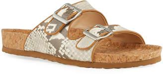 Neiman Marcus Metallic Dual Buckle Slide Sandals