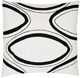 Judy Ross Oval-Embroidered Wool Canvas Pillow