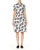 Carolina Herrera Umbrella-Print Short-Sleeve Shirtdress, Black/White