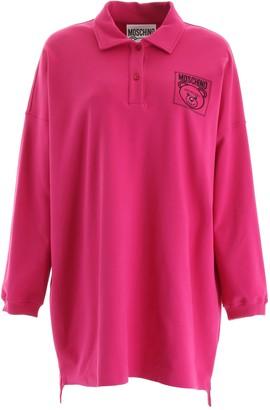 Moschino Teddy Motif Printed Oversize Polo Shirt