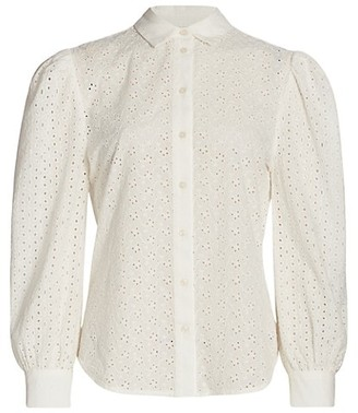 7 For All Mankind Puff-Sleeve Eyelet Shirt