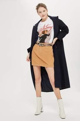 Topshop Womens Petite Camel Cord Mini A-Line Skirt - Camel