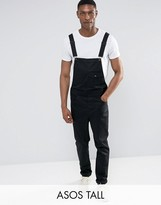 Asos Tall Chino Dungarees In Black