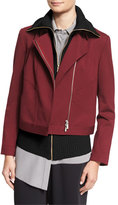 Magaschoni Ponte Moto Jacket w/ Angled Seams, Fig