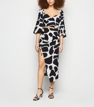 New Look Urban Bliss Giraffe Print Split Midi Skirt