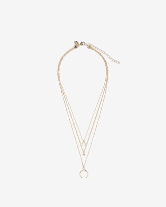 Express Layered Chain Horn Pendant Necklace