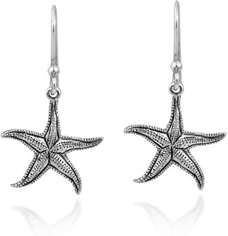Aeravida Handmade Beautifully Detailed Ocean Inspired Sterling Silver Starfish Dangle Earrings