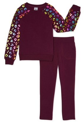 Athletic Works Girls Core Fleece Foil Sleeve Sweatshirt and Sweatpants Set, 2-Piece, 4-18 & Plus