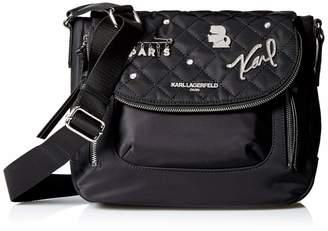 Karl Lagerfeld Paris CARA Nylon Applique Flap Messenger
