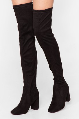 Nasty Gal Womens Thigh's the Limit Faux Suede Thigh High Boots - Black