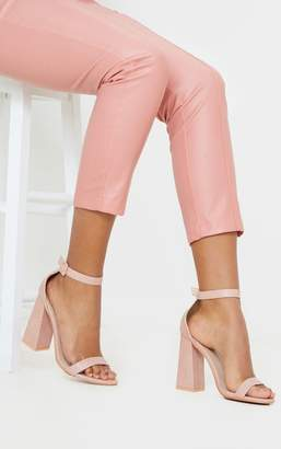 PrettyLittleThing Nude Square Buckle Ankle Strap Block Heel Sandal