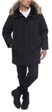 Sean John Men's Faux Fur Trimmed Three-Quarter Snorkel Coat