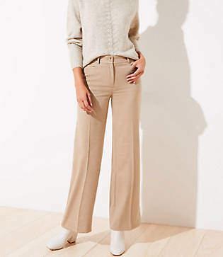 LOFT Petite Brushed Flannel High Waist Wide Leg Pants