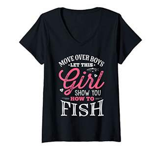 Möve Womens Over Boys Let This Girl Show You How To Fish Fishing V-Neck T-Shirt