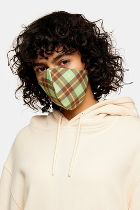 Topshop Womens **Green Check Fashion Face Mask - Green