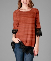 Aster Orange & Black Crochet-Hem Swing Tunic - Plus - Plus Too