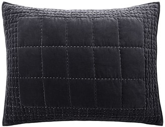 Pottery Barn Velvet Handcrafted Box Stitch Quilted Sham