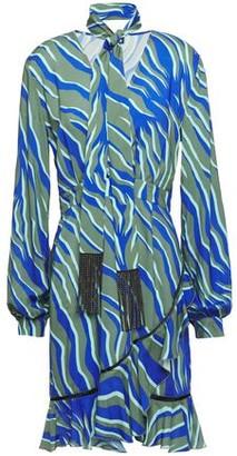 Just Cavalli Wrap-effect Crystal-embellished Zebra-print Woven Mini Dress