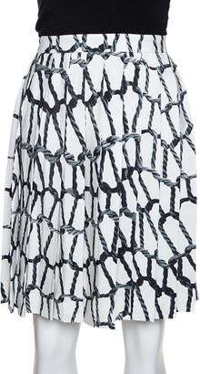 Joseph Monochrome Rope Printed Silk Pleated Skirt M
