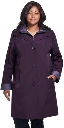 Gallery Plus Size Contrast-Trim Hood Rain Jacket