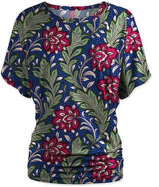 Udear UDEAR Women's Blouses Print - Green & Blue Floral Dolman Top - Women & Plus