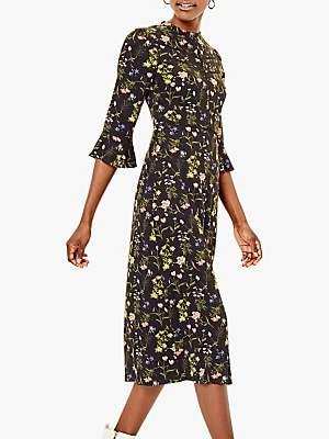 Oasis Cara Lace Trim Dress, Black