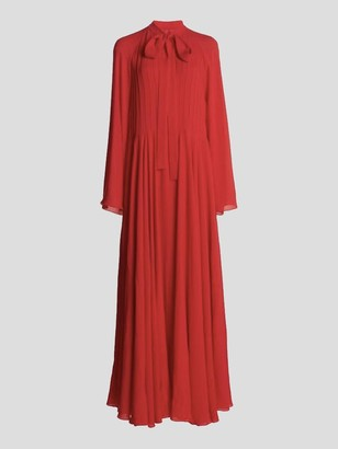 Giambattista Valli Long Sleeve Silk Crepe Tie Neck Maxi Dress