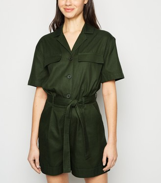 New Look Belted Denim Playsuit
