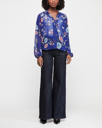 Express Floral Print Ruffle Collar Button Front Shirt